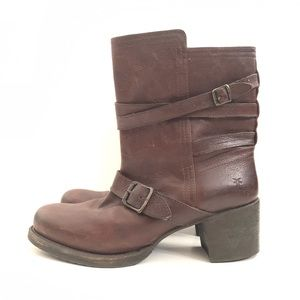 Frye Vera Strap Motorcycle Boots